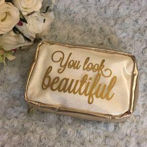NWOT Gold & Cream Glitter Makeup Case